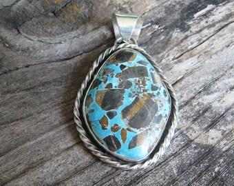 Turquoise Pendant, Natural Candelaria Turquoise, Natural Turquoise Pendant, Natural Turquoise Necklace, Turquoise Pendants, GemSalad Jewlery