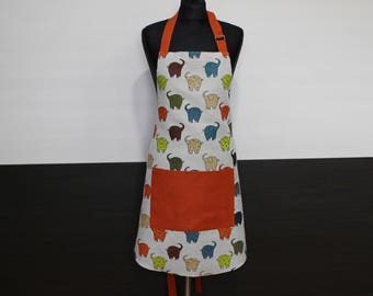 Linen Apron with Colorful Elephants, Ready to Ship Kitchen Apron, Apron with Orange Pocket, Christmas Gift Idea, Elephants bring happiness