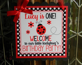 Ladybug Birthday Party Personalized Welcome Door Sign in Red and Black - Ladybug Party Decorations - Ladybug Door Hanger - Ladybugs Decor