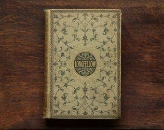 Antique book Longfellow poetry Victorian 1890s book of Henry Wadsworth Longfellow poems.