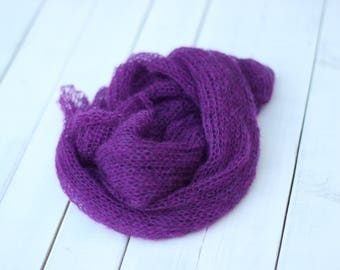 Dark Violet new born  Delicate Mohair knitted wrap,new born wrap,Mohair  knitted wrap