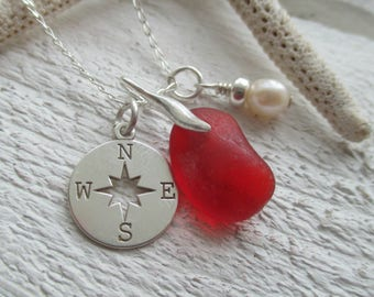 Sea Glass Sterling Silver Compass & Pearl Cluster Necklace