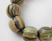 Polymer Clay Beads, handmade bead set of 9