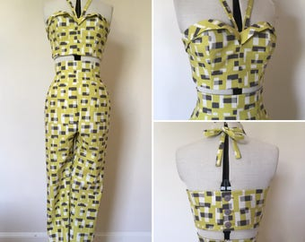 1950s repro atomic print chartreuse, grey and white capri pants and crop top set