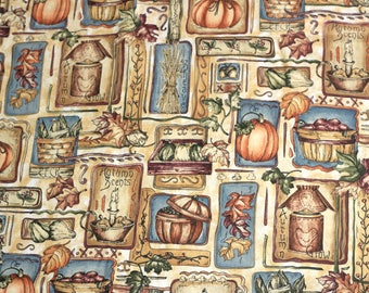 Over 3 Yds Fall | Autumn Fabric Cotton with Pumpkins Leaves Apples Baskets | Muted Colors Browns Reds Blue Green VIP Cranston Material