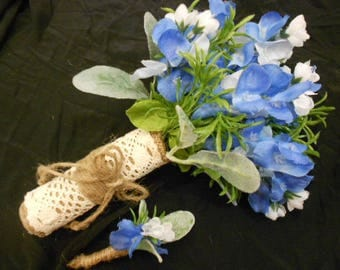Texas Blue Bonnet Silk Bridal Bridesmaid Bouquet Flowers. Bluebonnets Lambs Ear Leaves and Sagebrush. Burlap and Lace Rustic Country Wedding