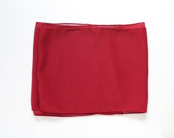 Red Lightweight Scarf  With Rolled Hem
