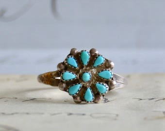 Navajo Petit Point Turquoise Ring - Size 10