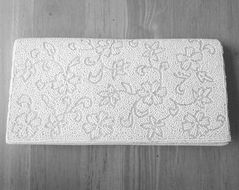 Vintage Evening Bag White Tiny Seed Pearls Retro Fashion Unused