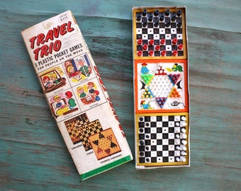 Travel Trio Plastic Pocket Games, Vintage Game with Original Instructions, Game Night, Vintage Game Pieces, Kids Games, Vintage Checkers