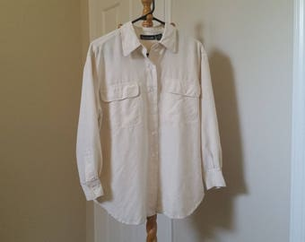 100% silk white beige creme long sleeve blouse breast pocket button up down shirt S M L songofstyle blushingambition