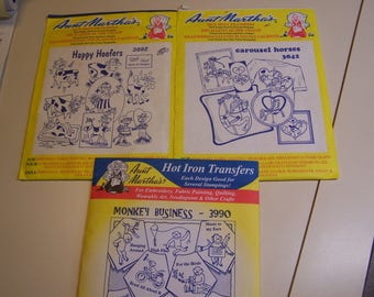 """Vintage Aunt Martha Choice """"Carousel Horses"""", """"Happy Hoofers"""" (Cows) or """"Monkey Business"""" Hot Iron Transfers for  Embroidery Uncut (#2)"""