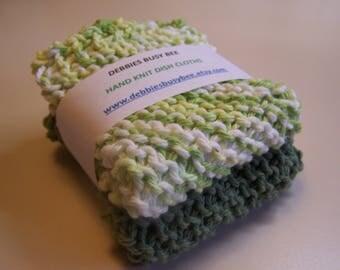 Hand Knit Dish Cloths,  Green Tones, Set of 2