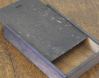 vintage wood slide top wor box