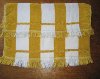 2 Vintage Gold Crest Cone Mills Striped Hand Towels Gold And White