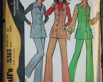 25%off Sizzlin Summer Sal McCall 3313 1970s 70s V Neck Tunic Flared Pants Disco Vintage Sewing Pattern Size 10 Bust 32.5