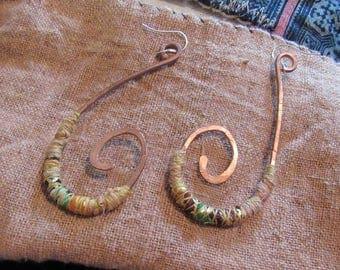 Tribal Hoop Earrings Jewellery Large Copper Spiral Hoops Gold Green Silver Ear Rings Wire Wrap Boho Gypsy Dangle Festival Jewelry Bohemian
