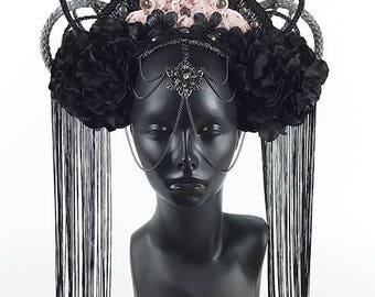 Black & Pink Headdress Crown