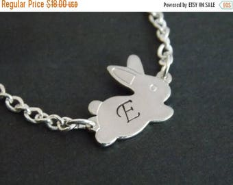 SALE Silver Necklace, Rabbit Necklace, Bunny, Silver Bunny, Silver Rabbit  Pendant, Initial, Personalized, Bunny Pendant, Animal Jewelry