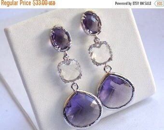 SALE Purple Earrings, Lavender, Amethyst, Glass, Clear, Silver, Bridesmaid Jewelry, Bridesmaid Earrings, Bridal Jewelry, Bridesmaid Gifts