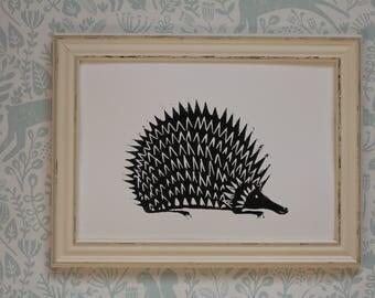 Lino Print - Limited Edition -A4 Linocut -Hedgehog relief print -hedgehog Lino print - linoleum print on acid free paper.