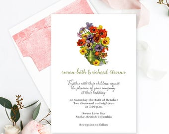 Semi Custom Wedding Stationery - Save the Date, Wedding, Bridal Shower, Engagement Party - Pansy Place 2 (Style 13415)