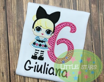 LOL Doll Curious QT Girl Shirt- Embroidered and Personalized - You Choose Number