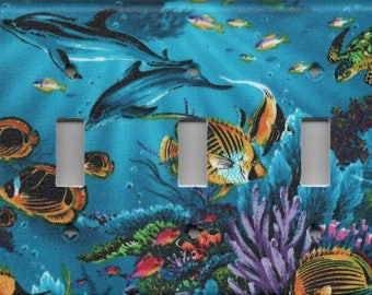 Tropical Fish, Dolphin, And Turtle Triple Light Switch Plate