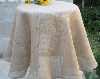 Round Oval Burlap Tablecloth, Wedding Table Cloth, Rustic Burlap Table  Linens, Farmhouse Kitchen
