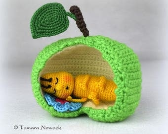 Sleeping apple worm crocheted - made to order