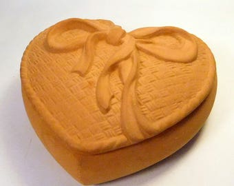 Vintage TERRA COTTA HEART Box- Trinket / Jewelry - Bow Design - Crowning Touch Label Taiwan