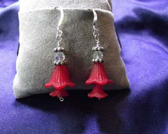 Red Lucite Flower Earrings with Sterling Silver Wire