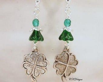 CIJ SALE Green Shamrock Earrings, Celtic Earrings, Green and Silver Irish Pierced or Clip-on Earrings. OOAK Handmade Earrings. CKDesigns.Us