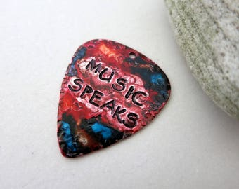 Guitar Pick Pendant, Music Speaks Hand Stamped Pick, Ink Painted, Guitar Player Gift, One of a Kind, Ready to Ship