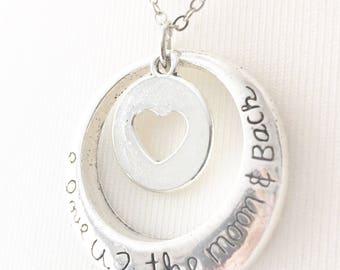 Love Necklace, Valentines Necklace, I love you to the moon and back pendant, silver heart, heart charm, delicate keepsake pendant, UK