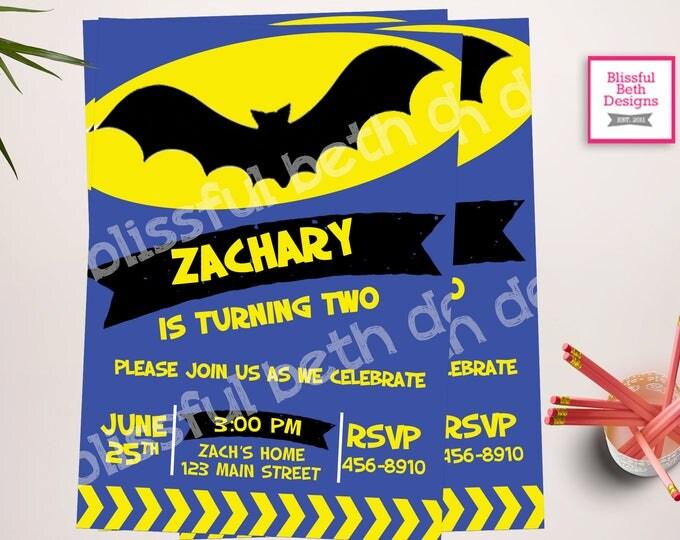 MODERN BATMAN INVITATION, Personalized Blue Batman Printable Birthday Invitation, Blue Batman, Batman Birthday, Bat Birthday, Batman