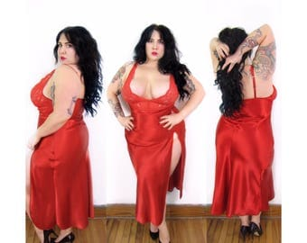 Plus Size Vintage 1990's Red Nightgown - Size 1X