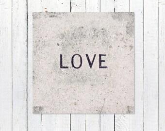 Love Print Wall Art Gift for Her | Black + White Photography | Home Decor Art Print | Nursery Art Decor | Housewarming Gift | Love Stone