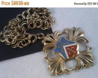 On Sale Vintage Lion Fleur de lis Necklace, Statement Jewelry, Mid Century Collectibles,  Retro Runway Necklace, 1960's 1970's Jewelry