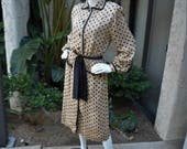 Vintage 1980's Woolf Brothers Beige Dress with Black Polka Dots - Size 12