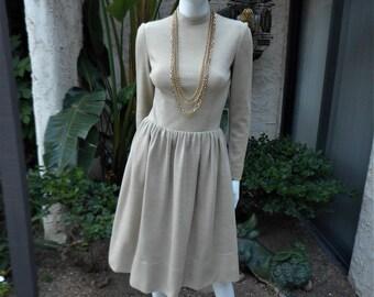 Vintage 1970's Heather Beige Wool Day Dress - Size 6