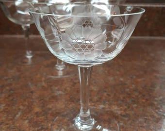 Set of 6 Vintage Cornflower Pattern Crystal Dessert/Sherbet Dishes