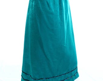 Vintage 80s Teal Emerald Green Sequin Lace Gypsy Boho Midi Skirt UK 14 US 12