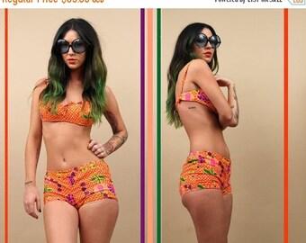 60s Vtg CORSET Orange COTTON Polka Dot Tulip Fruit Op Art BiKINI 2 Piece Swimsuit Set / Mod Hippie Bralet + Shorts Playsuit / Sm - Med