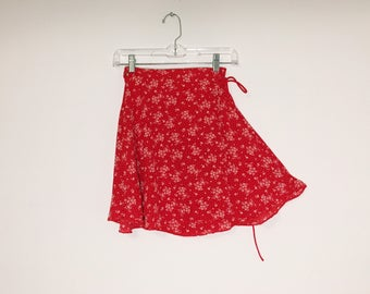 Ditsy Red Floral 90s Inspired Mini Wrap Skirt Small Extra Small OOAK Made from Deadstock Fabric Eco Conscious