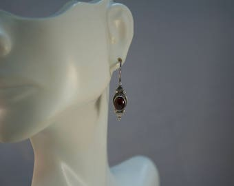 Bali Sterling and Garnet Cabochon Dangle Earrings