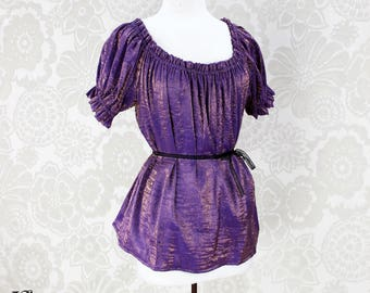 Steampunk Renaissance Cora Chemise in Purple and Copper Crinkled Shimmer Satin -- Custom Made in Your Size