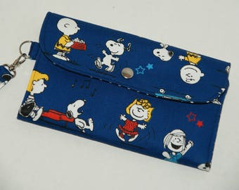 """Multi-Case Wristlet Wallet / Cell Phone Wristlet / Travel Pouch Made with Japanese Fabric """"Snoopy and Friends - Canvas"""""""