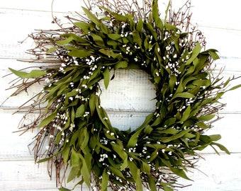 Winter Wreath-Farmhouse Wreath-Rustic Twig Wreath-Summer Wreath-Housewarming Gift-BAY LEAF Wreath-Year Round Wreath-Holiday Home Decor-Gifts