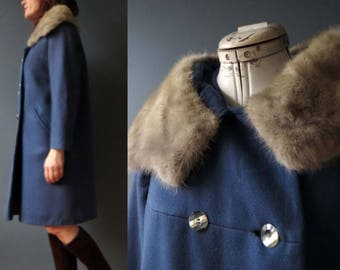 50s 60s Prussian Blue Worsted Wool Blonde Mink Fur Coat Medium Large